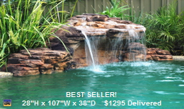 Swimming pool rock waterfalls and fountains add value to your home. Swimming pool rock waterfalls and fountains add beautiful scenery. Swimming pool water features are enjoyed by the whole family. Swimming pools deserve to have the addition of a luxurious rock waterfalls and fountains. Your swimming pool / patio / yard can have one, too! Beautify your swimming pool easily with a rock waterfalls and fountains from Monsoon Mfg. LLC.