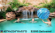 Swimming pool rock waterfalls and fountains add value to your home. Swimming pool rock waterfalls and fountains add beautiful scenery. Swimming pool water features are enjoyed by the whole family. Swimming pools deserve to have the addition of a luxurious rock waterfalls and fountains. Your swimming pool / patio / yard can have one, too! Beautify your swimming pool easily with a rock waterfalls and fountains.